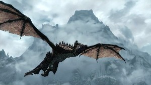 Skyrim - Dragonborn screenshot chevaucher dragon avec montage eneiger