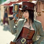 steampunk cosplay nerf gun fille