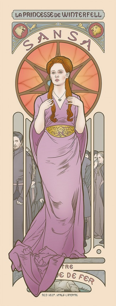 game-of-thrones-la princesse de winterfell sansa throne de fer  style style Art Nouveau 18 renaissance